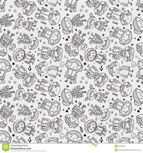 doodle family seamless doodle family pattern stock images image 33052664