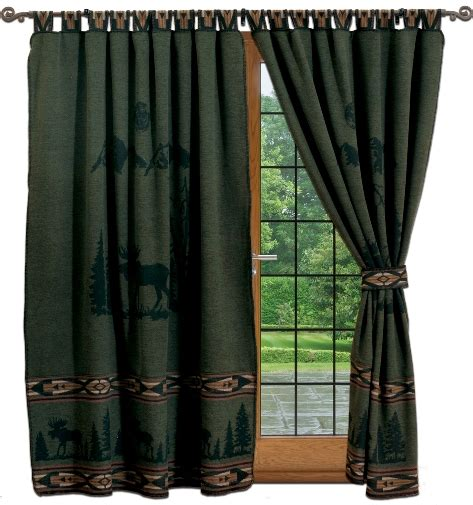 forest green curtains drapes lodge curtains cabin moose hunter green curtains set