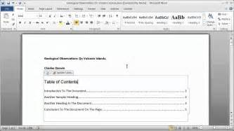 creating a table of contents in a word document part 1