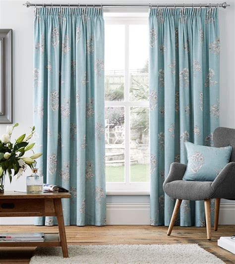 duckegg blue curtains duck egg blue floral 100 cotton pencil pleat curtains