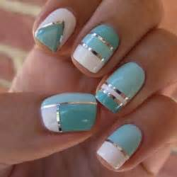 Nail art designs blue white silver