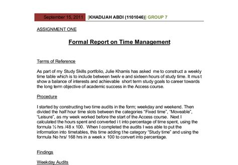 Formal Report on Time Management. As part of my Study