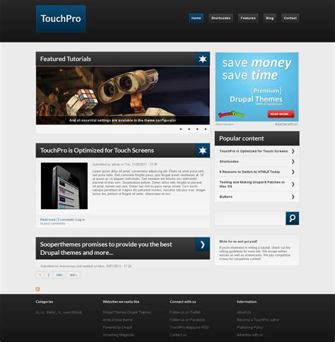 drupal themes with slider free download touchpro free drupal theme preview