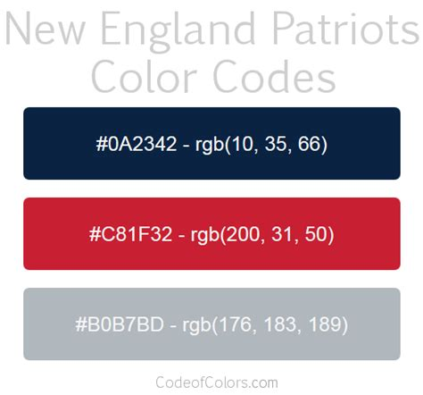 new patriots colors hex and rgb color codes