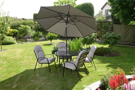 Quality black grey padded 4 seater 6 piece metal garden dining set table 4 chairs cushions