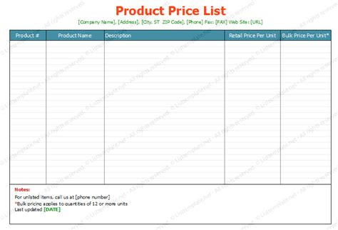 free printable price list templates