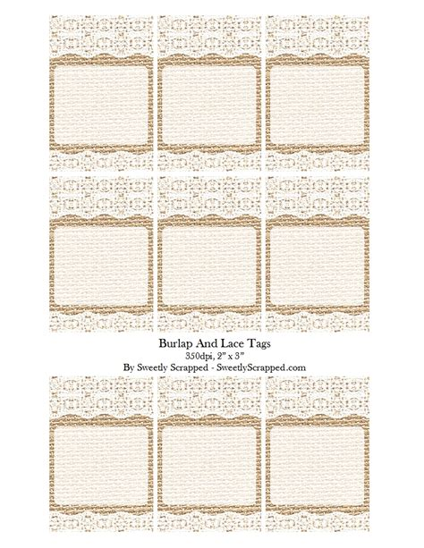 Sweetly Scrapped Burlap And Lace Cards Or Tags Burlap And Lace Template