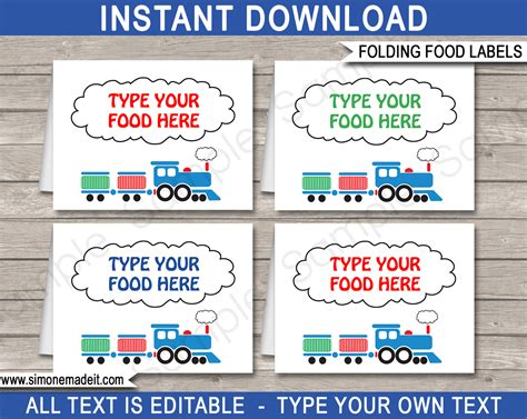 templates for food labels train theme food labels template place cards train
