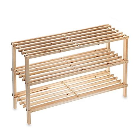 wood shoe rack buy salt 3 tier stackable wood shoe rack from bed bath