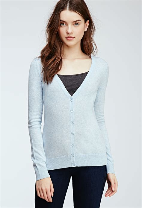 Cardigan Forever 21 forever 21 classic v neck cardigan in blue lyst