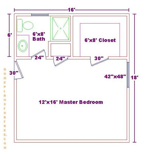 Master Bedroom Closet Measurements Master Bedroom 12x16 Floor Plan With 6x8 Bath And Walk In