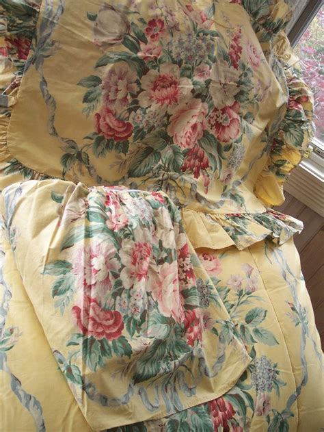 yellow pattern queen sheets rare vintage ralph lauren evelyn yellow floral chintz