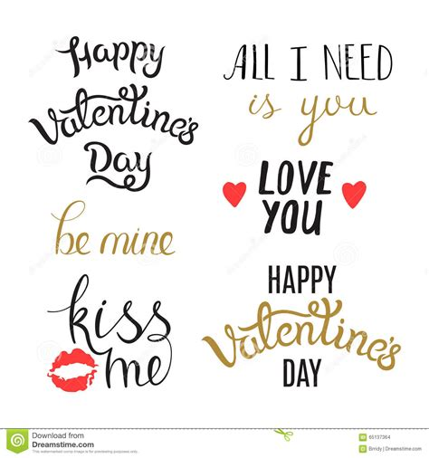 7 Cool Valentines Day Quotes by Set Of Day Phrases Stock Vector
