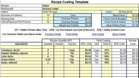 recipe cost card template plate cost how to calculate recipe cost template