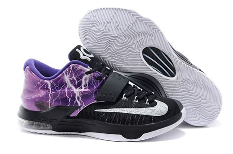 black and purple basketball shoes nike kd 7 basketball shoes lighting black purple silver