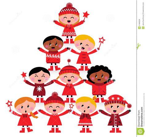 clipart bimbi albero multiculturale dei bambini di natale illustrazione