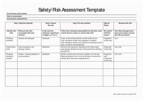 Template For Risk Assessment doc 1113698 risk assessment form template free free