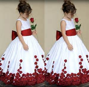 white and red kids wedding dress sash with big bow jewel