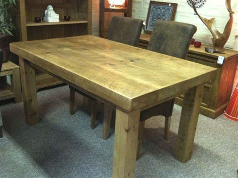 chunky dining room table new solid wood dining table chunky rustic wooden plank 3