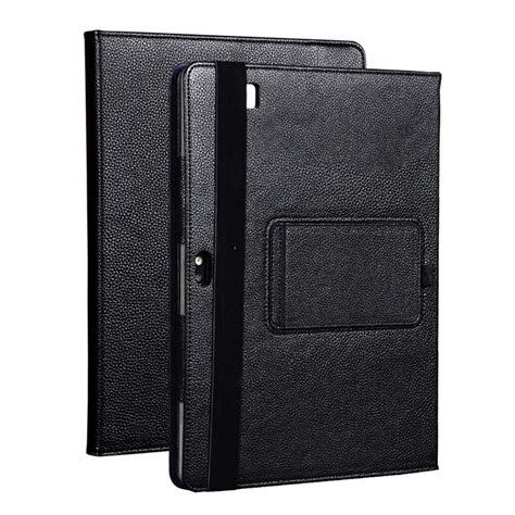 fashion black litchi grain pu leather protective folding
