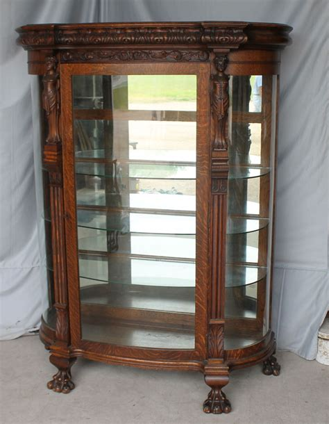 antique curio cabinet with curved glass antique oak curio china cabinet carved ladies mirrored