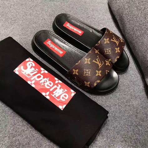 Converse Lv Supreme White louis vuitton lv slippers supreme slides shoes louis vuitton slipper
