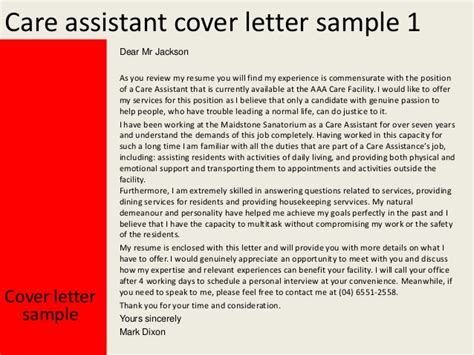 cover letter for care assistant no experience care assistant cover letter