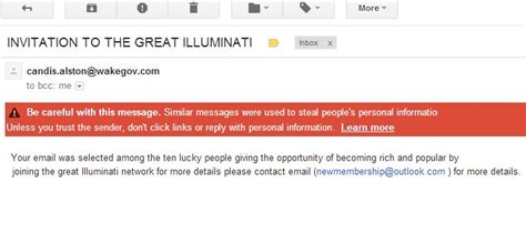 scammers send out emails asking users to join the illuminati