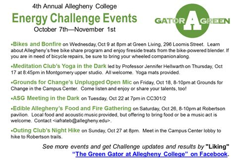 Allegheny College Calendar Energy Challenge Schedule Of Events 187 The Green Gator At