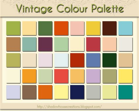 shadowhouse creations vintage colour palette