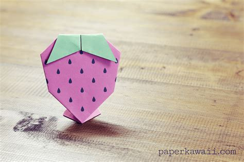 Origami Kawaii - origami strawberry tutorial free printable paper kawaii