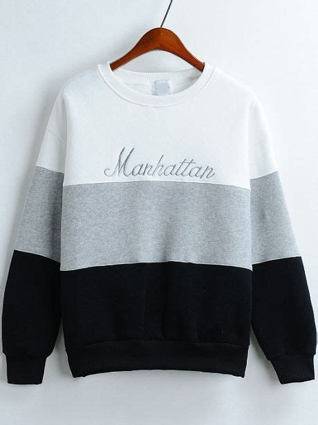 colour block  neck letters embroidered sweatshirt