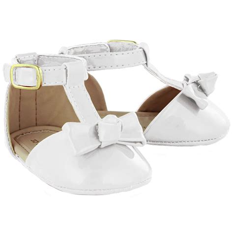 baby white patent sandles shoes bow decoration