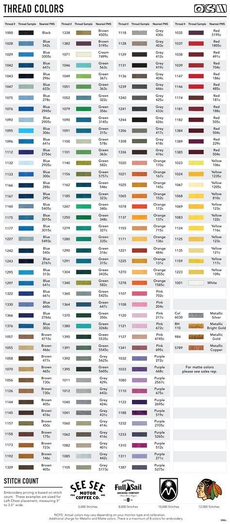 thread colors resources embroidery thread color chart