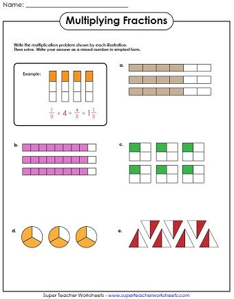 diagram with fractions multiplying fractions