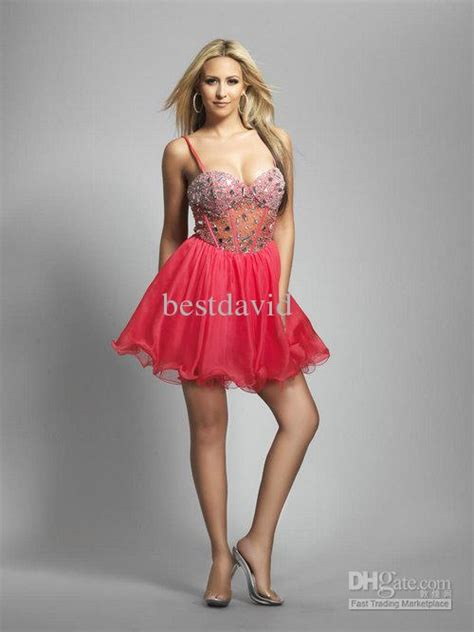 Red Lace Beaded Corset Grade 8 Graduation Dress 2013 Chiffon Spaghetti Strap Mini Skrit 8178