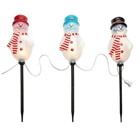 holiday time 4 piece vintage snowman pathway christmas lighted lawn stakes set path marker lights