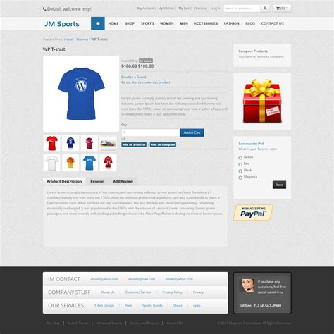 jm sports magento responsive template
