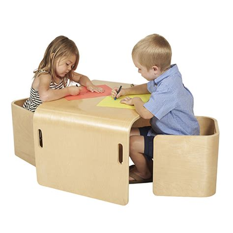 Wood Tables And Wooden Chair At Daycare Furniture Direct Preschool Chair