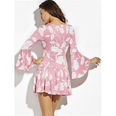 Dress Betwo s pink v neck sleeve mini dress n14379