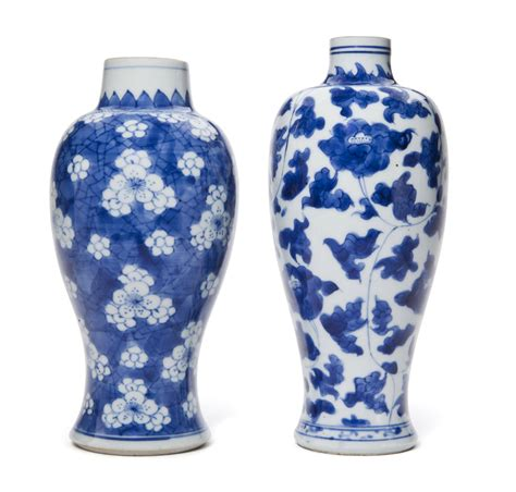 Two Vases by Two Blue And White Vases Kangxi Period 1662 1722