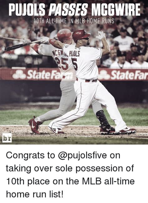 pujols passes mcgwire 10th all time in mlb home runs state