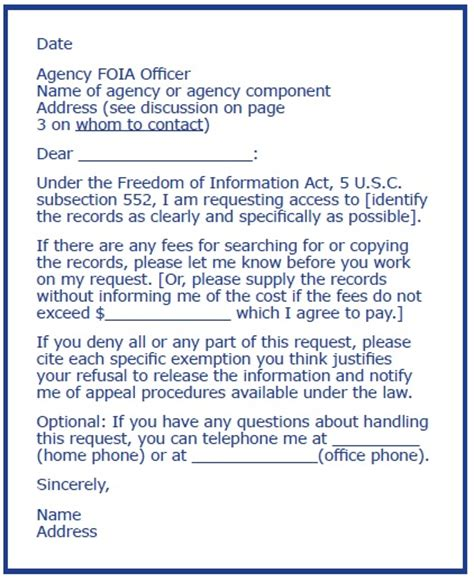 foia request template white house your right to federal records foia request