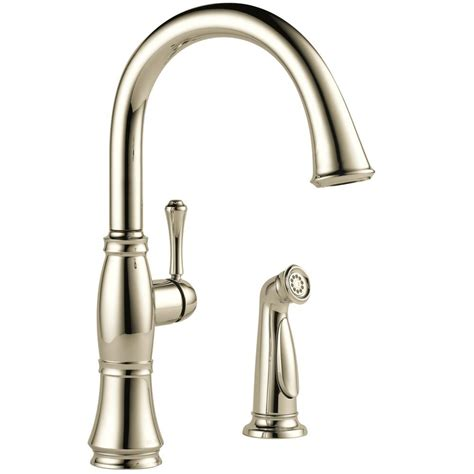 polished nickel kitchen faucets delta cassidy single handle standard kitchen faucet with