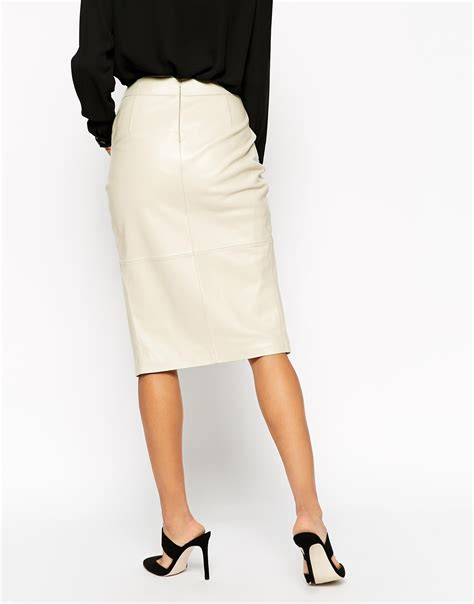 Rok Pensil Skrit asos pencil skirt in leather with wrap front and pocket