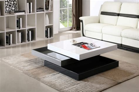 Contemporary Living Room Table White Grey Black 360 Degrees Motion Storage Coffee