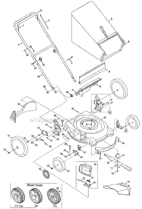 yard machine mower parts diagram yard machines 11a 544e029 parts list and diagram