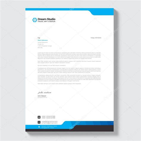 professional letterhead template vector stock vector