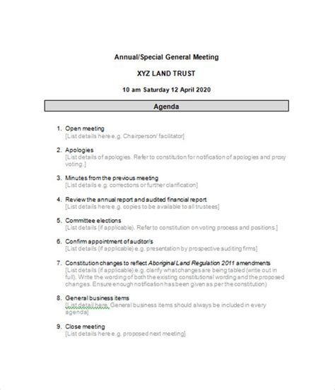 business agenda templates 6 free word pdf documents
