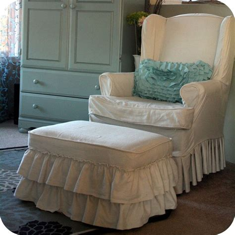 Slipcovered Ottomans Creating At Home Diy Ruffles And Rosettes Slipcovered Ottoman House Ideas